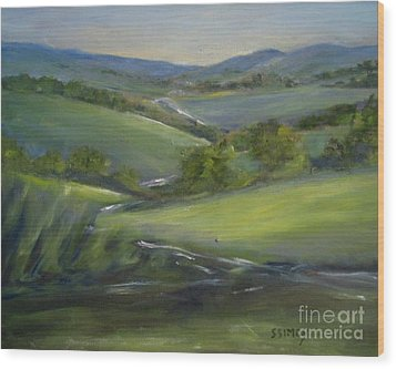 Wood Print featuring the painting Verdant Hills Of New York by Sally Simon