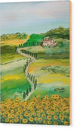 Verde Sentiero Wood Print by Loredana Messina