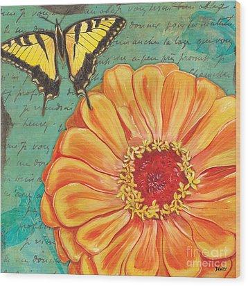 Verdigris Floral 1 Wood Print
