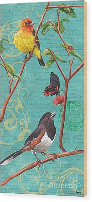 Verdigris Songbirds 2 Wood Print by Debbie DeWitt