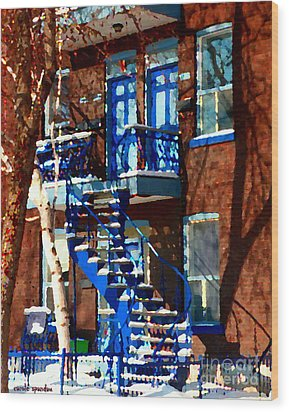 Verdun Duplex Stairs With Birch Tree Montreal Winding Staircases Winter City Scene Carole Spandau Wood Print by Carole Spandau