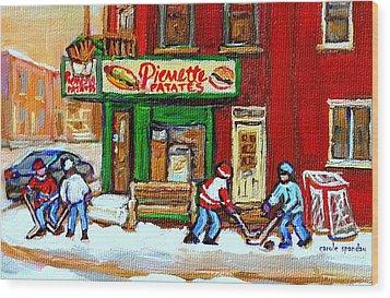 Verdun Hockey Game Corner Landmark Restaurant Depanneur Pierrette Patate Winter Montreal City Scen Wood Print by Carole Spandau