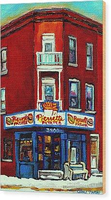 Verdun Landmarks Pierrette Patates Resto Cafe  Deli Hot Dog Joint- Historic Marquees -montreal Scene Wood Print by Carole Spandau