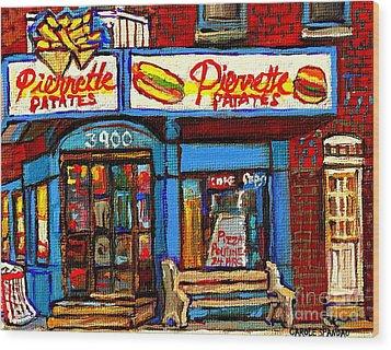 Verdun Restaurants Pierrette Patates Pizza Poutine Pepsi Cola Corner Cafe Depanneur - Montreal Scene Wood Print by Carole Spandau