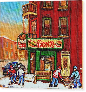 Verdun Street Hockey Pierrettes Restaurant Rue 3900 Verdun -landmark Montreal Hockey Art Work Scenes Wood Print by Carole Spandau