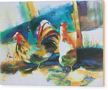 Wood Print featuring the painting Veridian Chicken by Kathy Braud