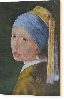 Wood Print featuring the painting Vermeer Study by Sharon Schultz