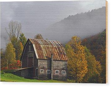 Vermont Autumn Barn Wood Print