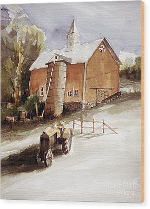 Vermont Barn With Wooden Silo Wood Print