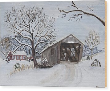 Wood Print featuring the painting Vermont Covered Bridge In Winter by Donna Walsh