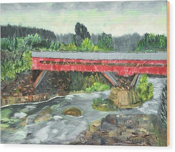 Wood Print featuring the painting Vermont Covered Bridge by Michael Daniels