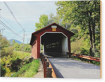 Wood Print featuring the photograph Vermont Covered Bridge by Trina  Ansel