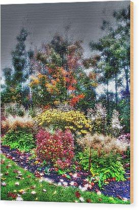 Vermont Fall Garden Wood Print