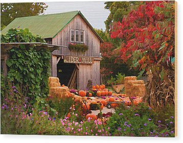 Wood Print featuring the photograph Vermont Pumpkins And Autumn Flowers by Jeff Folger