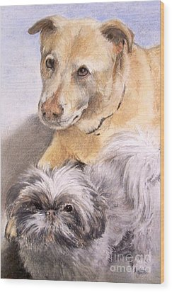 Wood Print featuring the painting Vern And Molly by Mary Lynne Powers