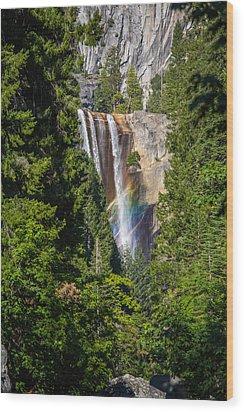 Vernal Falls Rainbow Wood Print by Mike Lee