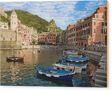Wood Print featuring the photograph Vernazza Boatman - Cinque Terre Italy by Carl Amoth