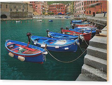 Vernazza Boats Wood Print by Inge Johnsson