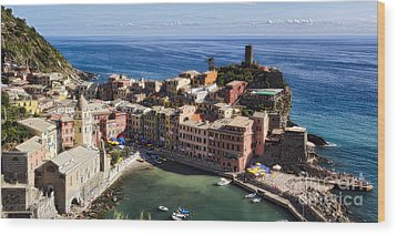 Vernazza From Above Wood Print by George Oze