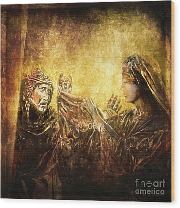 Veronica Wipes His Face Via Dolorosa 6 Wood Print by Lianne Schneider