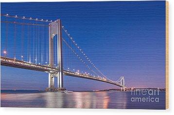 Verrazano Bridge Before Sunrise  Wood Print by Michael Ver Sprill