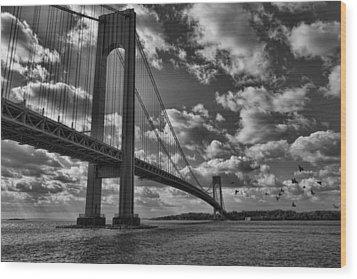 Verrazano Narrows Bridge In Bw Wood Print