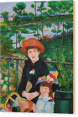 Wood Print featuring the painting Version Of Renoir's Two Sisters On The Terrace by Cyril Maza