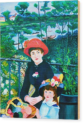 Wood Print featuring the painting Version Of Renoir's Two Sisters On The Terrace by Lorna Maza