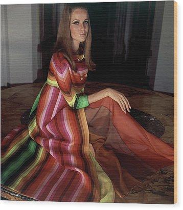 Veruschka Von Lehndorff Wearing A Striped Coat Wood Print by Henry Clarke