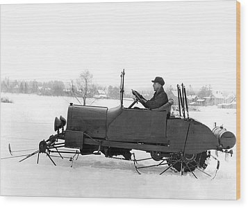 Very Early Snowmobile Wood Print by Underwood Archives