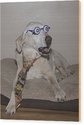 Very Intelligent Dog Wood Print