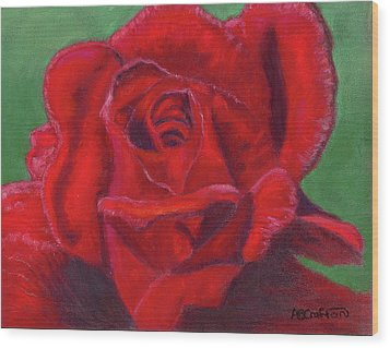 Wood Print featuring the painting Very Red Rose by Arlene Crafton