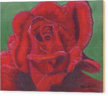 Very Red Rose Wood Print