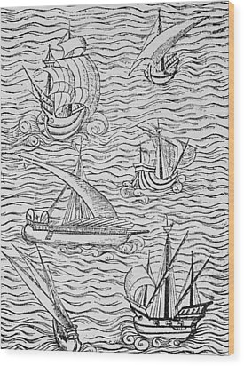 Vessels Of Early Spanish Navigators From The Narrative And Critical History Of American Wood Print by English School