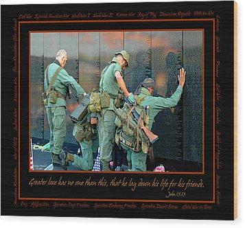 Veterans At Vietnam Wall Wood Print by Carolyn Marshall