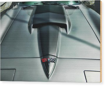 Wood Print featuring the photograph Vette Hood by Victor Montgomery