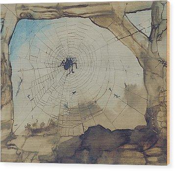 Vianden Through A Spider's Web Wood Print by Victor Hugo
