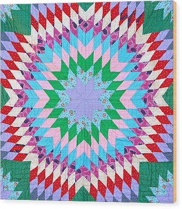 Vibrant Quilt Wood Print by Art Block Collections