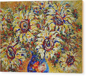 Wood Print featuring the painting Vibrant Sunflower Essence by Natalie Holland