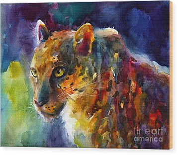 Vibrant Watercolor Leopard Wildlife Painting Wood Print by Svetlana Novikova