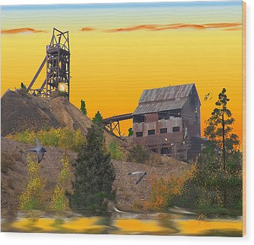 Victor Colorado Gold Mine Wood Print by J Griff Griffin