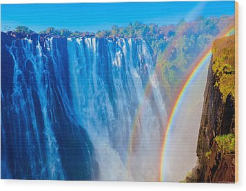 Victoria Falls Double Rainbow Wood Print by Jeff at JSJ Photography