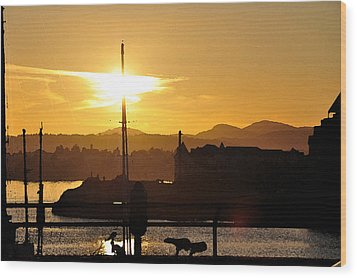 Wood Print featuring the digital art Victoria Harbor Sunset 1 by Kirt Tisdale