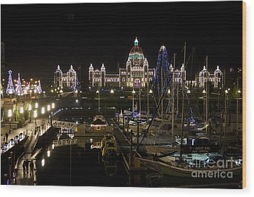 Victoria Harbour At Christmas Wood Print