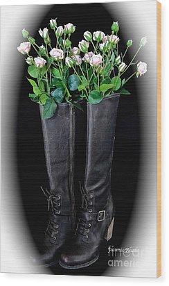 Victorian Black Boots Wood Print