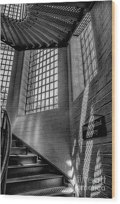 Victorian Jail Staircase V2 Wood Print by Adrian Evans
