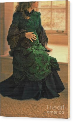 Victorian Lady Expecting A Baby Wood Print by Jill Battaglia