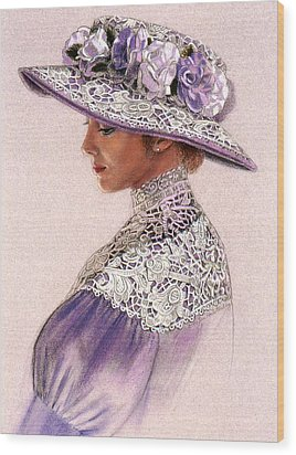 Wood Print featuring the painting Victorian Lady In Lavender Lace by Sue Halstenberg