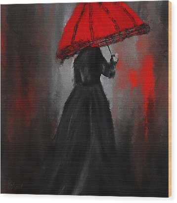Victorian Lady With Parasol Wood Print by Lourry Legarde