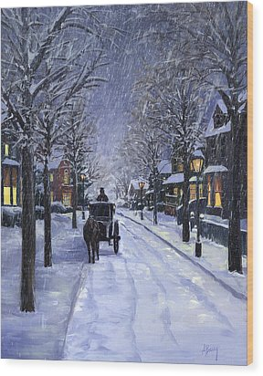 Wood Print featuring the painting Victorian Snow by Alecia Underhill